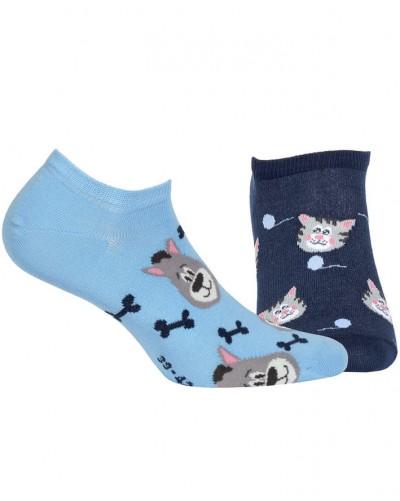 Členkové ponožky so vzorom Pes/mačka