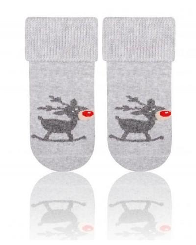 Froté vianočné ponožky pre deti so sobom Rudolfom