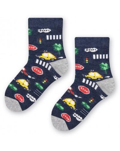 Detské bavlnené ponožky autíčka