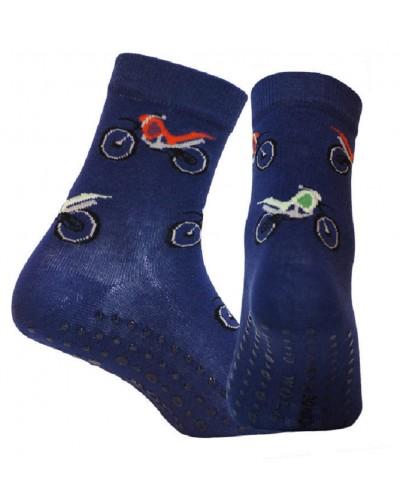 Detské ponožky s protišmykovým chodidlom Motorky