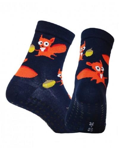 Detské ponožky s protišmykovým chodidlom Veverička
